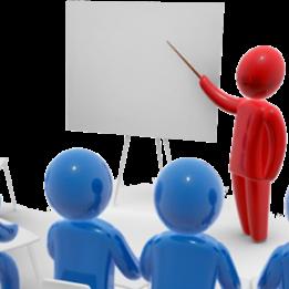 Persona roja señalando un pintarrón impartiendo clases a personas azules.