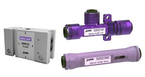Tres generadores de vacío de diferentes modelos dos morados y un gris marca PIAB