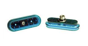 Dos fuelles ovalados color azul eléctrico de la marca PIAB