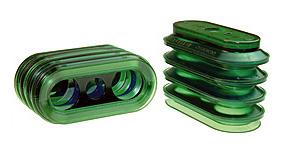 Dos fuelles largos ovalados color verde de la marca PIAB