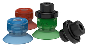 Tres ventosas azul, roja y verde DURAFLEX y dos conectores marca PIAB